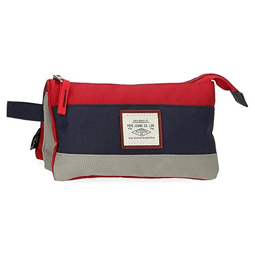 Pepe Jeans Dany Trousse triple compartiment Rouge 22x12x5 cms Polyester recyclé
