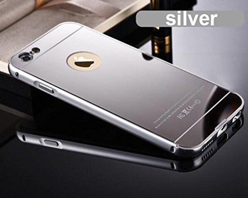 Hibote NUOVO alluminio di lusso della copertura della pagina Ultra-Slim Fit specchio della cassa del metallo per Apple iPhone 6s plus argento