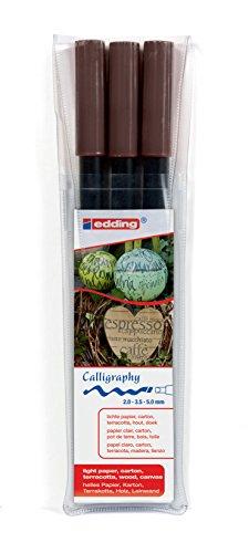 edding 1255 Kalligrafie-Stift - Farbe: dunkelbraun 3x - Ideal für Kalligraphie und Lettering auf nahezu allen Oberflächen - Made in Germany