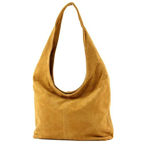 modamoda de - T150 - ital Schultertasche aus Leder Wildleder, Farbe:Curry
