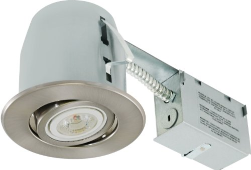 Liteline RC402C18R-LED-PC-BN All-in-One 4-inch LED Recessed Combo with Remodel Housing, 8W LED PAR20 lamp, Gimbal Trim, Brushed Nickel