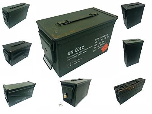Originale Munitionskiste der Bundeswehr, optional abschließbar, Militärkiste, Mun Kiste, Metallkiste, Metallbox, Truhe