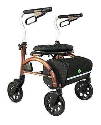 Evolution Xpresso Zero Lightweight Medical Walker Rollator with Seat, Large Wheels, Brakes, Backrest, Basket for Seniors Indoor Outdoor use (Coppery Brown, Regular)