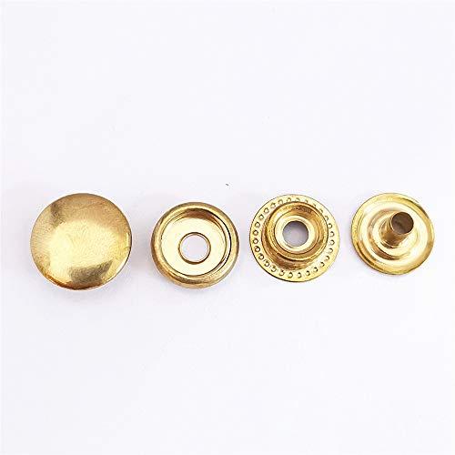 Baogu 100 unidades (25 juegos) Botones de presión de acero inoxidable Set de lona lona de camping sin costuras, 15 mm para cuero, artesanía, chaqueta, cartera, bolso (dorado)