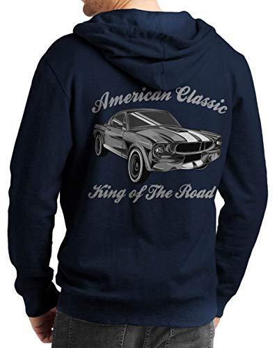 Herren Zip Hoodie Sweat-Jacke mit Kapuze Kapuzen-Jacke Winter mit Motiv Bedruckt Hot-Rod US-Car Amerika Mustang Challenger Muscle-car V8 Mustang King of The Road Blau M