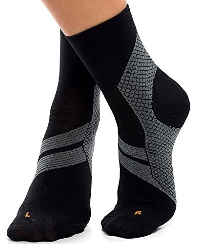 ZaTech Plantar Fasciitis Sock, Compression Socks (Black/Gray, X-Large)