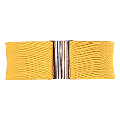 Ladies Elastic Cinch Stretch Belt with Metallic Buckle for Dress Yellow M