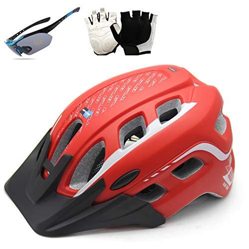 HVW Casco de Ciclismo para Adultos, Casco de Bicicleta para la protección de Seguridad para Mujer para Hombre con Guantes de Visera Desmontable Gafas de Vistas Ligeras Ajustables 22-24 en,Rojo