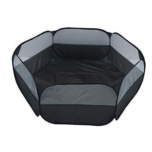 N/T Welpenlaufstall/Tierlaufstall/Hundehütte/Welpenauslauf/Laufstall für Hunde/Katzenhaus/Wasserdichtes Zelt für Kleintiere wie Hunde, Katzen,60X38CM (Schwarz)