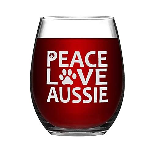 Copa de vino australiana para perro pastor australiano, divertida copa de vino sin tallo, grabado con láser, para whisky, para ella, mamá, esposa, jefe, hermana, 15 onzas
