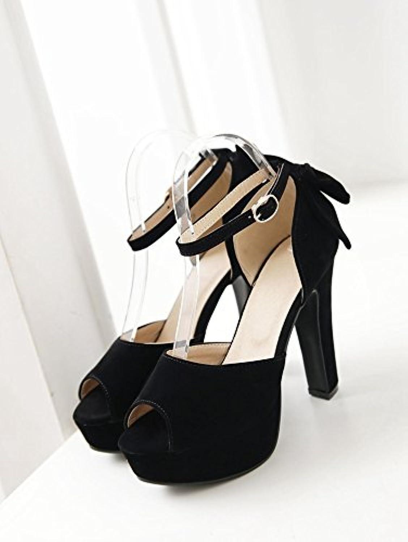 WHW Women's Beach Comfort PU Dress Casual Flat Heel high Heel Sandals,Black,46