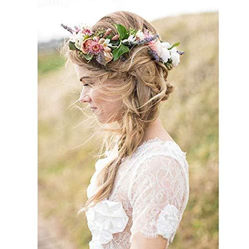 Simsly Boho corona de flores corona boda guirnalda diadema floral accesorios para el cabello para mujeres y niñas (colorido)