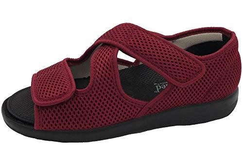 OrtoMed Klettschuhe Senioren Rot Sandale Hausschuh Schuhe, EU 40