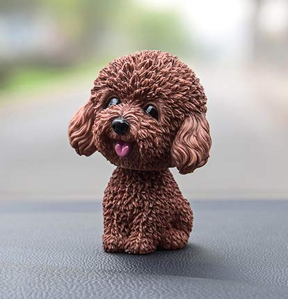 Fontee Auto Nette Nicken Schütteln Kopf Hund Puppe Verzierungen Auto Interieur Innendekoration Bobblehead Wackelkopf Dashboard Dekoration (Teddy Braun)