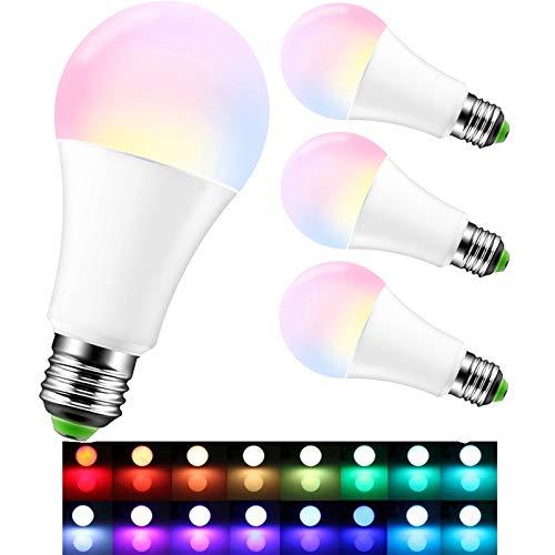 OurLeeme Farbige Leuchtmittel Dimmbar, E27 15W RGB 16 Farbe Fernbedienung Energy Saving Glühbirne für Hausdekoration Bar Party KTV Bühne (Batterie nicht enthalten) (4PCS, RGBW Warmweiß)