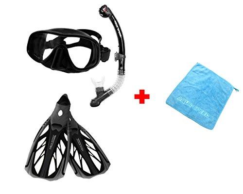 Aqua Speed® Set Taucherbrille, Schnorchel, Flossen (AMATI+Ultra+INOX) für Erwachsene Damen/Herren + kleines Microfaser Tuch, Farbe:Black-White;Größe:38/39