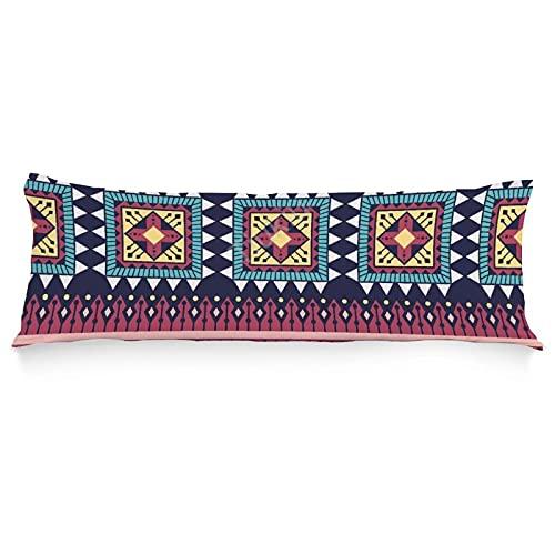 Funda de almohada para el cuerpo, funda de almohada suave, patrón tribal extra largo, fundas de almohada para adultos embarazadas 50 x 50 pulgadas