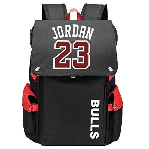 Lorh s store Patrón de Jugador de Baloncesto Jordan Escuela de Viaje Multifuncional Solapa Mochila Ventiladores Estudiante Mochila para Hombres Mujeres (Patrón Rojo 1)