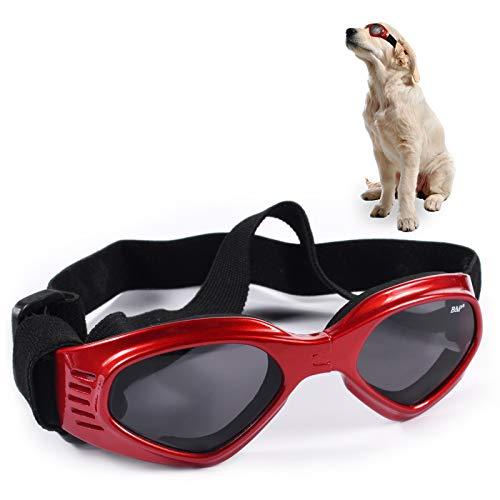 FGen Gafas para Perros, Gafas Ajustables para Perros, Gafas para Mascotas, Gafas Plegables a Prueba De Rayos UV E Impermeables, Adecuadas para Perros Pequeños Y Medianos (Rojo)
