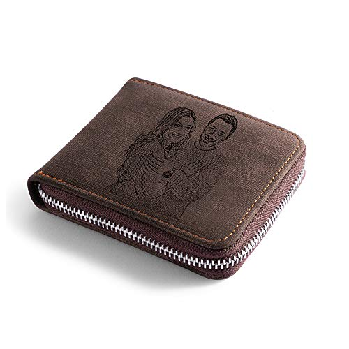 Personalized Engraved Wallet, Custom Photo Wallets for Men, Men's Zipper Wallet Customized Wallet for Father,Dad,Son,Boyfriend(Zipper 7)