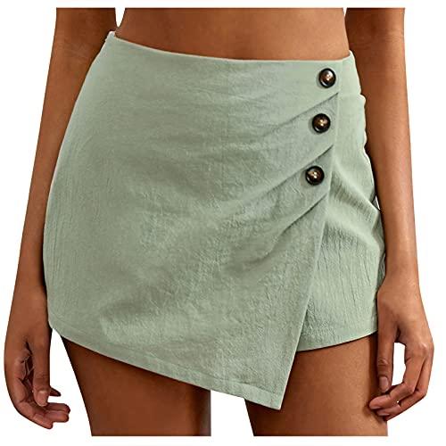 Culottes de Color Sólido para Mujer con Botones Pantalón de Deporte Transpirables Mujeres Pantalon Cortos Deportivo Suave y Cómodo Falda Pantalones Casual Ideal para Vida Cotidiana