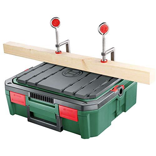 Bosch Workbox SystemBox met geïntegreerd werkbank-kussen (maat S, accessoires voor Bosch decoupeerzaag PST 700, in doos)