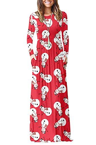 AUSELILY Mujer Vestidos Largos Vestido de Navidad de Manga Larga Sueltos Lisos de Talla Grande Vestidos Largos Casuales con Bolsillos(Muñeco de Nieve Rojo,M)