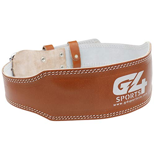 G4 Vision Genuine Leather Adjustable Weightlifting Belt 4 Gym Fitness Bodybuilding Powerlifting Deadlifting Thrusters Back Support Heavy Workout (Large, Brown)