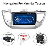 XMZWD 9 Pouces Véhicule GPS Navigation pour Voiture Android 8.1 Écran Tactile, pour Hyundai Tucson 2015-2018 Support Bluetooth/Multimedia/WiFi/BT Tethering (Contain Camera/Car Heater)