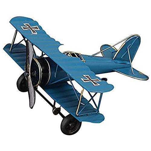 Flugzeugmodell, Vintage Flugzeug Modell Eisenmodell Metall Flugzeug-Dekoration Doppeldecker Flugzeug Miniatur Dekoration, Sammlung Büro Ornament - Blau (21,5x17,7x9 cm)