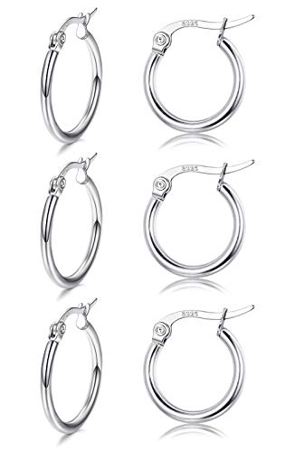 Sllaiss 3 Pairs Sterling Silver Small Round Hoop Earring for Women Girls Lightweight Click-Top Unisex Earring Hypoallergenic 10MM