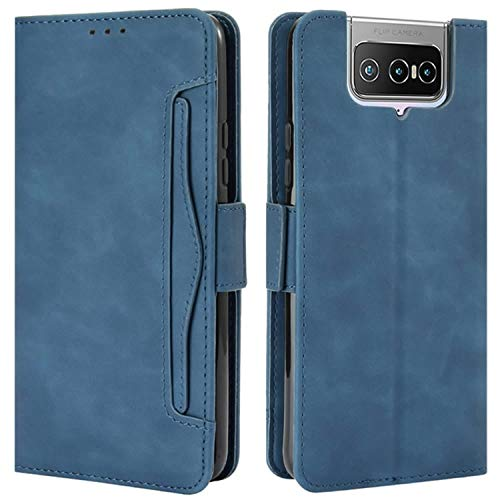 HualuBro Handyhülle für Asus Zenfone 7 Pro Hülle Leder, Flip Hülle Cover Stoßfest Klapphülle Handytasche Schutzhülle für Asus Zenfone 7 Pro ZS671KS Tasche (Blau)