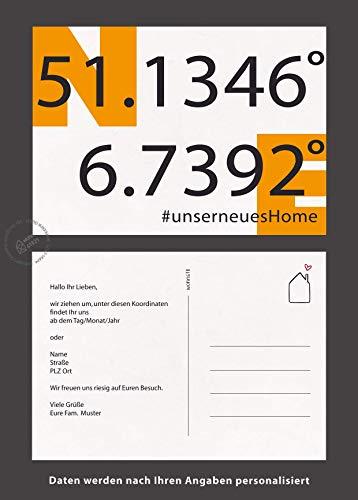UMZUGSKARTEN mit gps Koordinaten personalisiert individuell, Neues Heim, Neue Adresse, Wir ziehen um Postkarte Anzahl 6/12/ 18/24 50 ADRESSÄNDERUNG