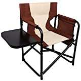 Folding Camping Directors Chair,Lightweight Aluminum Camp Chair Portable Full Back Makeup Artist Chair with Side Table Storage Bag Supports 300 lbs Outdoor Indoor(Brown)