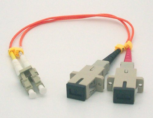 1ft Fiber Optic Adapter Cable LC (Male) to SC (Female) Multimode 62.5/125 Duplex