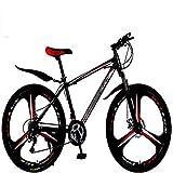 Bicicletas híbridas para Hombres y Mujeres, 21 velocidades, 30 velocidades, Ruedas de 24 Pulgadas, Bicicletas de Doble Disco, (Color: D, Pulgadas: 26 Pulgadas)