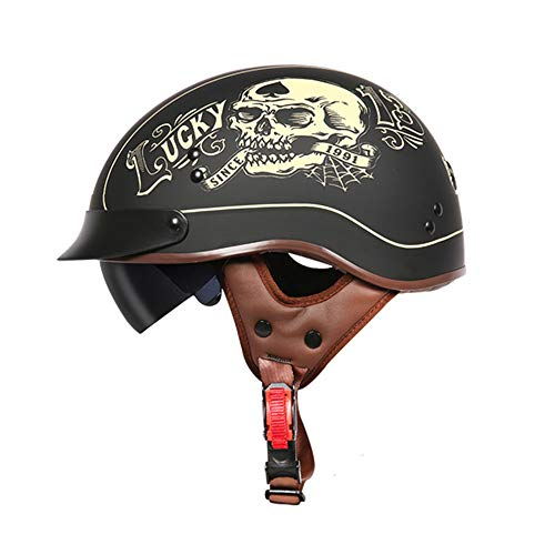 TORC Motorrad Open Face halb Helm, Vintage Jet Heavy Cruiser Motorrad Harley Helm Mit UV-Schutz Goggles DOT Zertifiziert Vier Jahreszeiten Unisex,Luckyskull,XL61~62CM