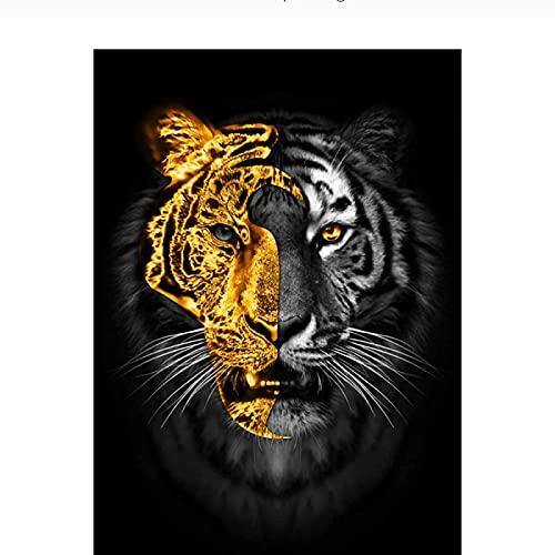 SXXRZA Estilo nórdico 50x70cm Sin Marco Animales Arte Pinturas de Tigre Negro Dorado en Lienzo Cuadros de Pared para decoración de Sala de Estar Carteles Impresiones Hogar
