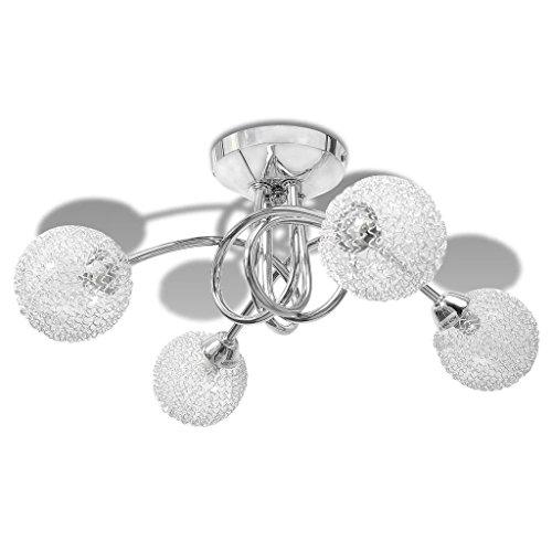 Lámpara de techo con estructura de metal + pantalla de cristal de alambre metálico, 4 bombillas G9, color blanco