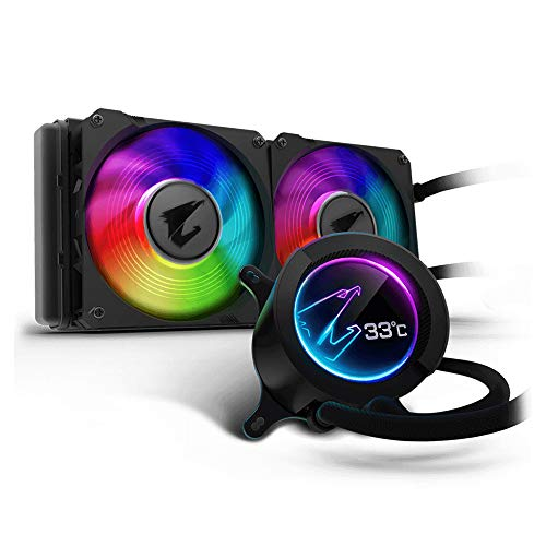 Gigabyte Aorus Liquid Cooler 240, All-in-one Liquid Cooler with Circular LCD Display, RGB Fusion...