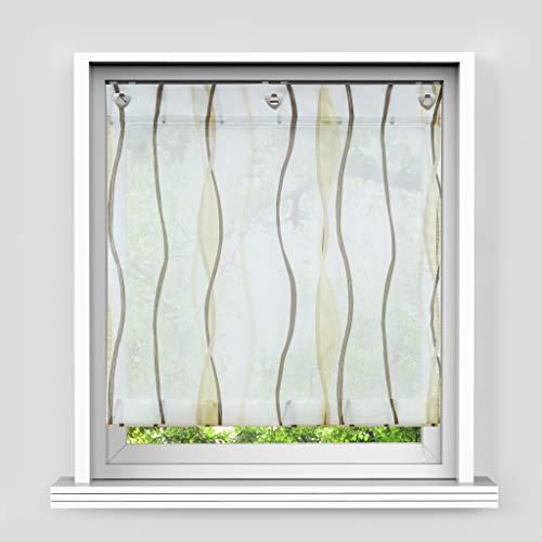 HongYa Raffrollo mit Wellen Druck Transparenter Voile Raffgardine Vorhang mit Hakenösen H/B 140/80 cm Creme Braun