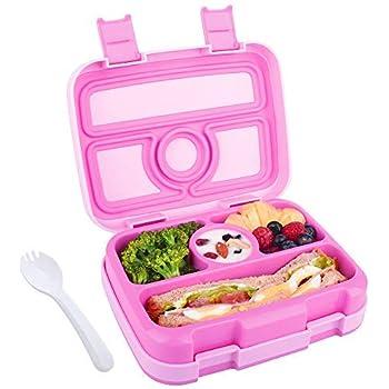 Fiambrera Bento para Niños Lunchbox con 4 Compartimentos Caja de Almuerzo con Cuchara Fiambrera Infantil para Colegio Excursion Picnics Comida Merienda para Niños (Rosa): Amazon.es: Hogar