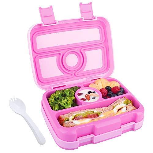 Lunchbox für Kinder Bento-Box Brotdose mit 4 Fächern BPA-freier Essen Container mit Löffel Ideal für Schule Picknicks Reisen
