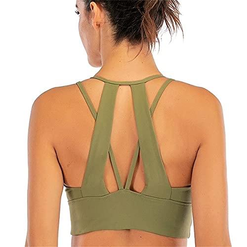 Biustonosz do jogi dla kobiet Fitness usztywniany wysoki wpływ biustonosze push-up Backless sportowy krótki top na siłownię trening bez rękawów Active Wear,Green,XL(8)