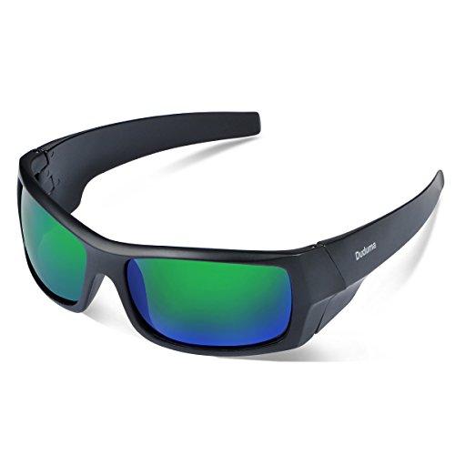Duduma Sport Occhiali da Sole Polarizzati per Gli Uomini Ideale per lo Sci Golf Corsa Ciclismo TR601 Super Leggero per Gli Uomini e le Donne. (139 Telaio nero opaco con lente verde)