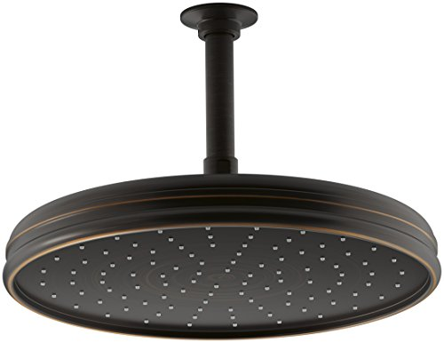 Kohler K-45202-2BZ 2.0 GPM Traditional Round 8-Inch Rainhead with Katalyst Spray, Oil-Rubbed Bronze