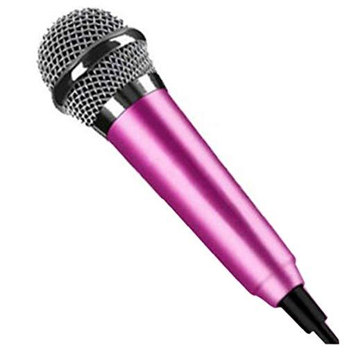 Mini micrófono estéreo Estudio Ktv Karaoke portátil Instrumento micrófono para móvil del Ordenador portátil del teléfono portátil Rosy para Adultos y niños