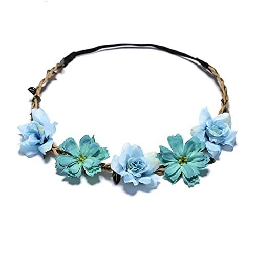 5pcs Boho Ladies Headband Floral Festival Wedding Garland Hair Headband Beach Party Wreath Bridal Headdress Stretchy Soft Fashionable