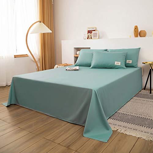 WYSTLDR Sábanas de algodón lavadas para Cama Doble Simple, combinación de sábana + Funda de Almohada, Ropa de Cama de 1,5 M / 1,8 M / 2 M Azul Claro 230x230cm