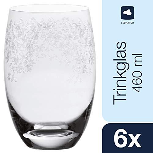 Leonardo Chateau Trink-Glas, Glas-Becher mit floralem Muster, spülmaschinenfeste Wasser-Gläser, 6er Set, groß, 460 ml, 061593